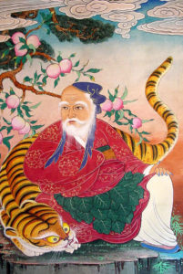 Sansin, the mountain spirit, with a Korean tiger