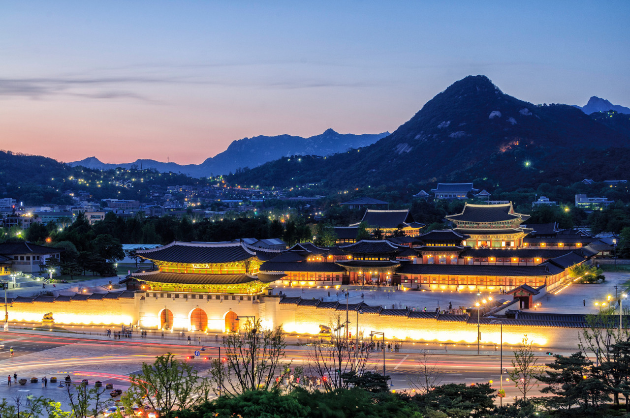 Gyeongbokgung Palace at night, Seoul, Korea