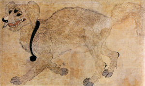 Korean folk art minhwa painting of a dog